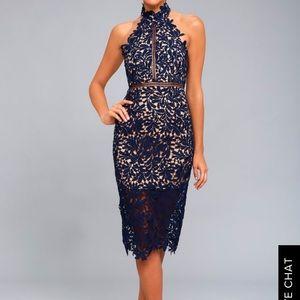Lulus Divine Destiny Navy Blue Lace Midi Dress